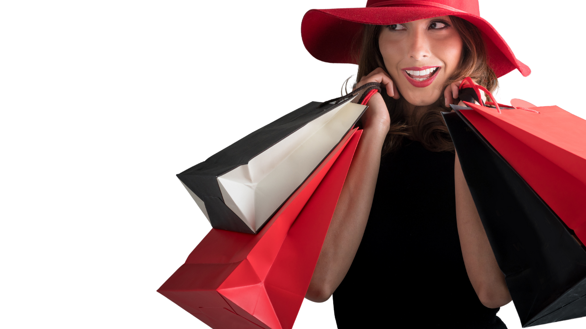 Shopping Lady in Red Hat